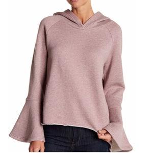 Melrose and Market Pink Bell Sleeve Crop Hoodie